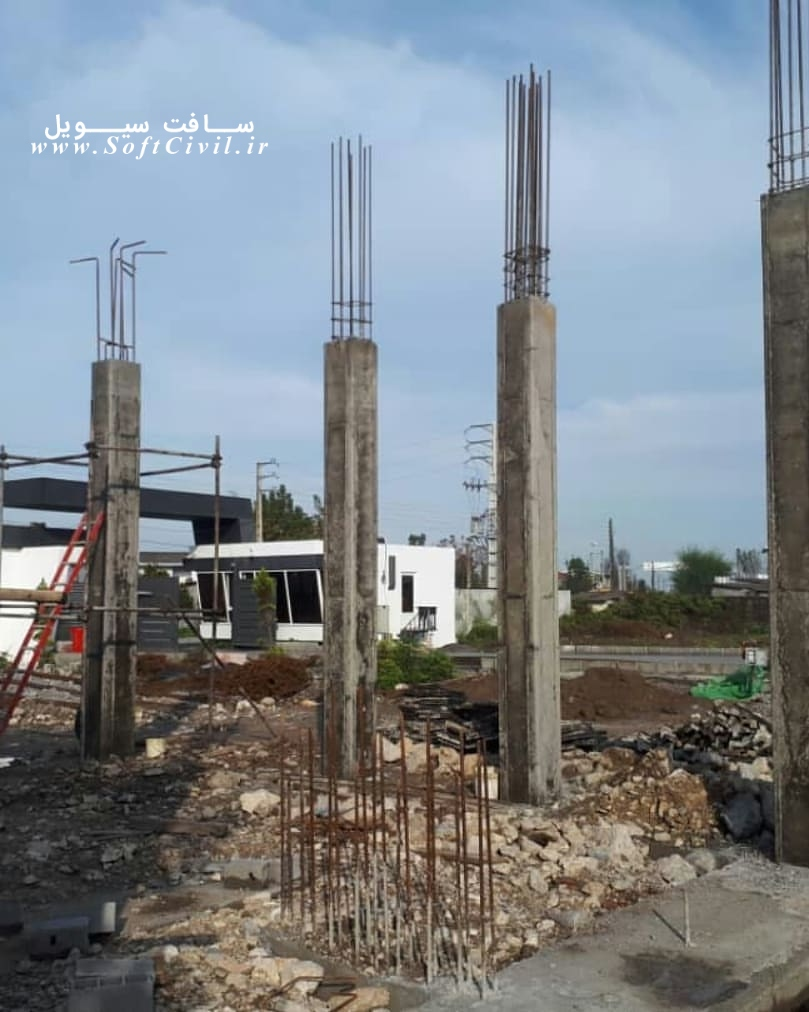 پایان آرماتوربندی قالب بندی و بتن ریزی ستون 5 متری