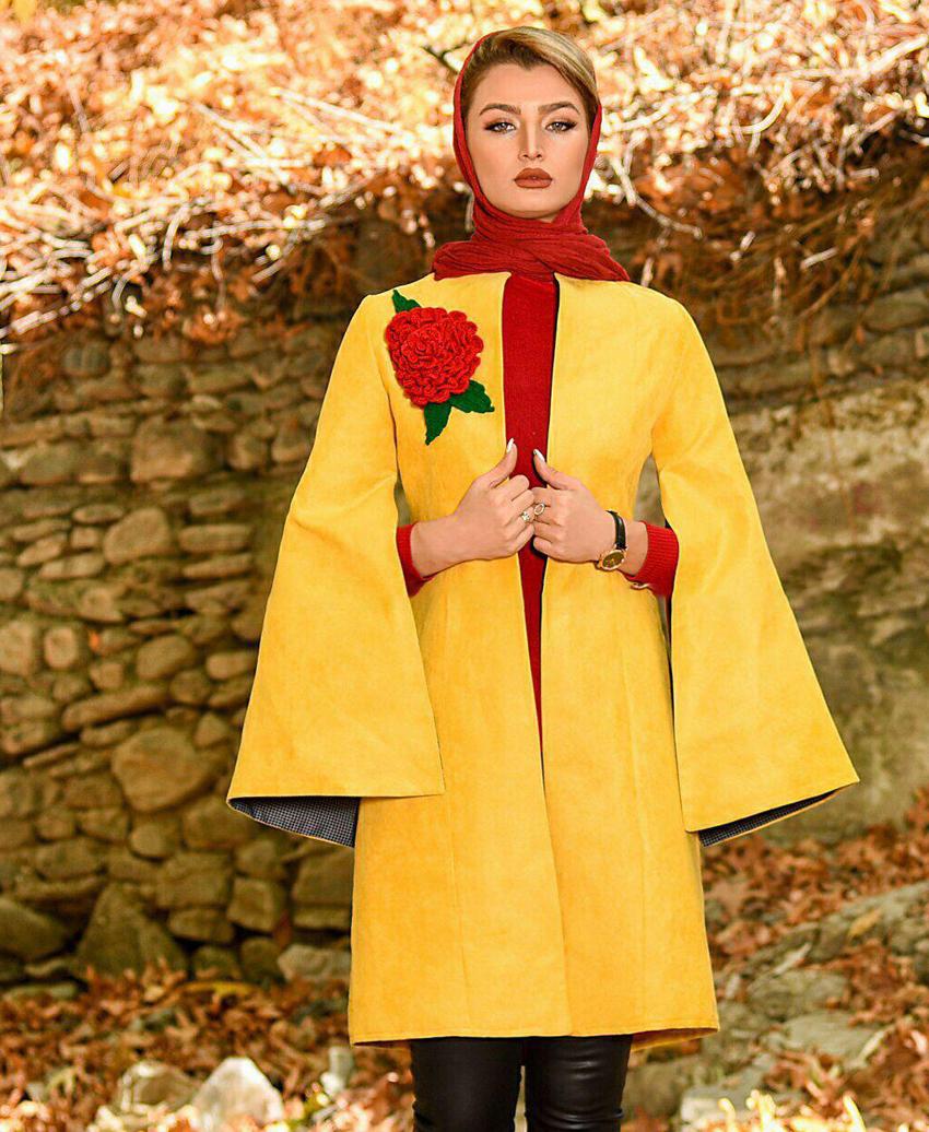 خرید شنل سوییت تک گل دار زمستانه برند مشهور Mashhoor رنگ خردلی