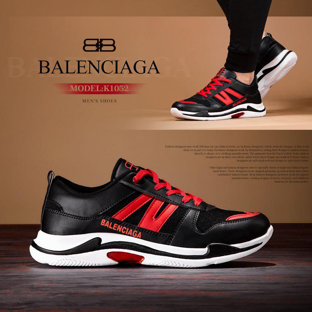 کفش مردانه بالنسیاگا Balenciaga مدل K1052 (مشکی قرمز)