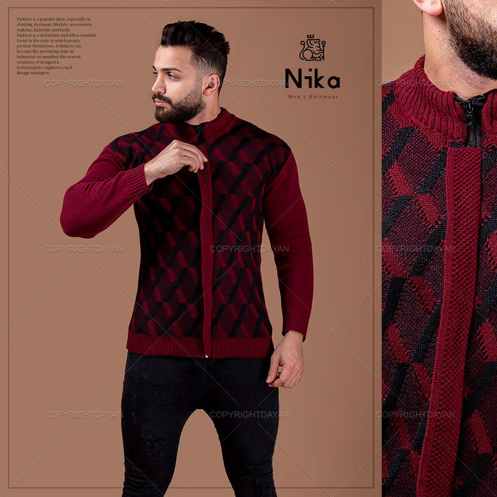 بافت مردانه Nika مدل E9961 (جگری)