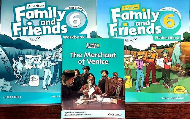 مجموعه فمیلی اند فرندز ۶ در یک قاب (کتاب دانش آموز، کتاب کار، کتاب داستان *تاجر ونیز*)