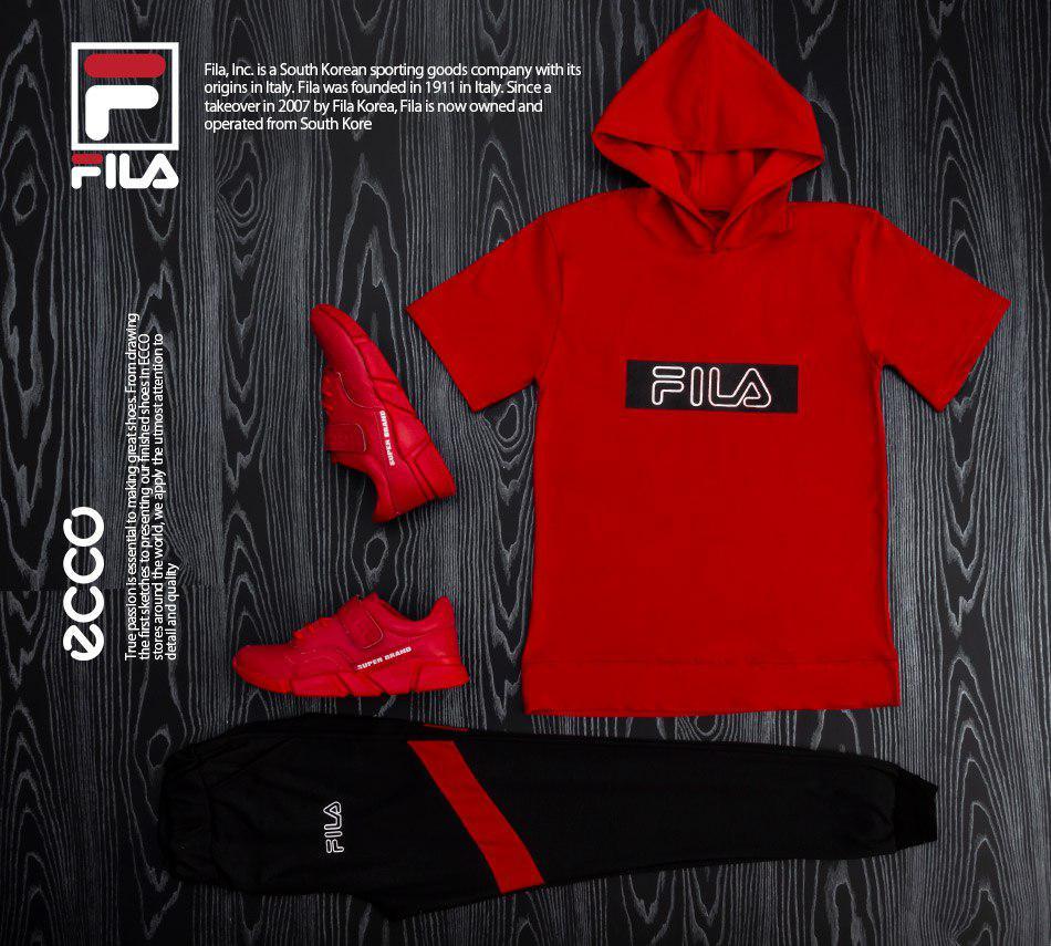 ست تیشرت و شلوار لانیر Lanir و کفش سوپر براند Super Brand (قرمز)