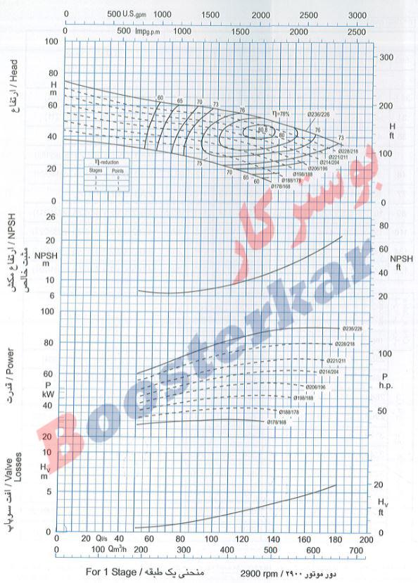 اطلاعات فنی و نمودار پمپ شناور طبقاتی عمودی پمپیران BRVS 486
