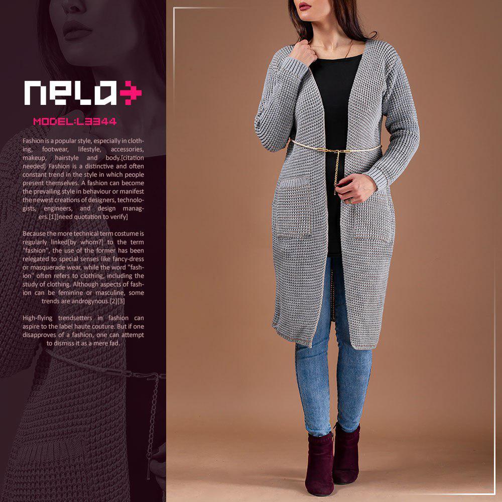 مانتو بافت جلو باز زنانه Nela مدل L3344