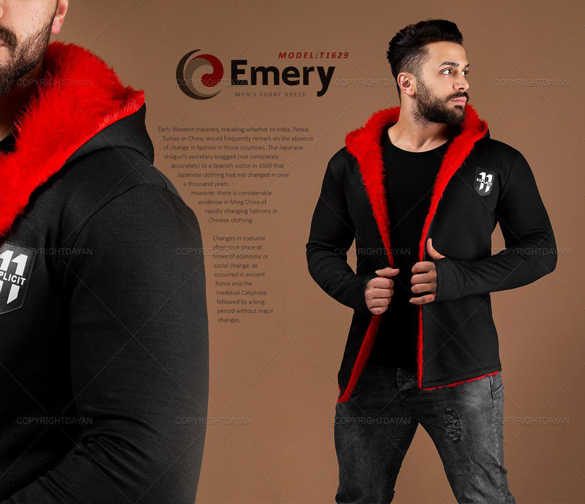 شنل خزدار آستین بلند انگشتی مردانه Emery مدل T1629