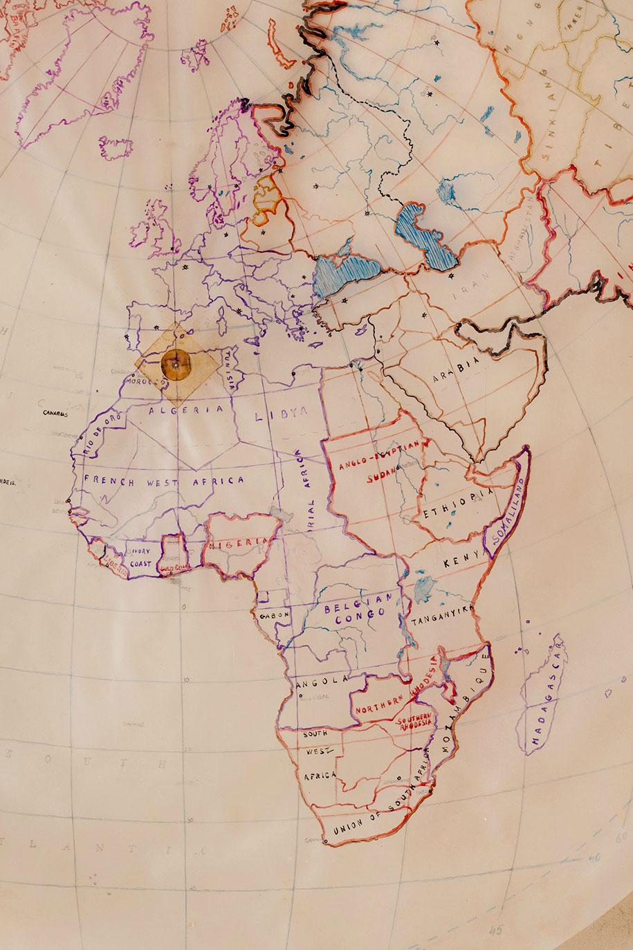 نقشه دست کشیده از اواخر 1930