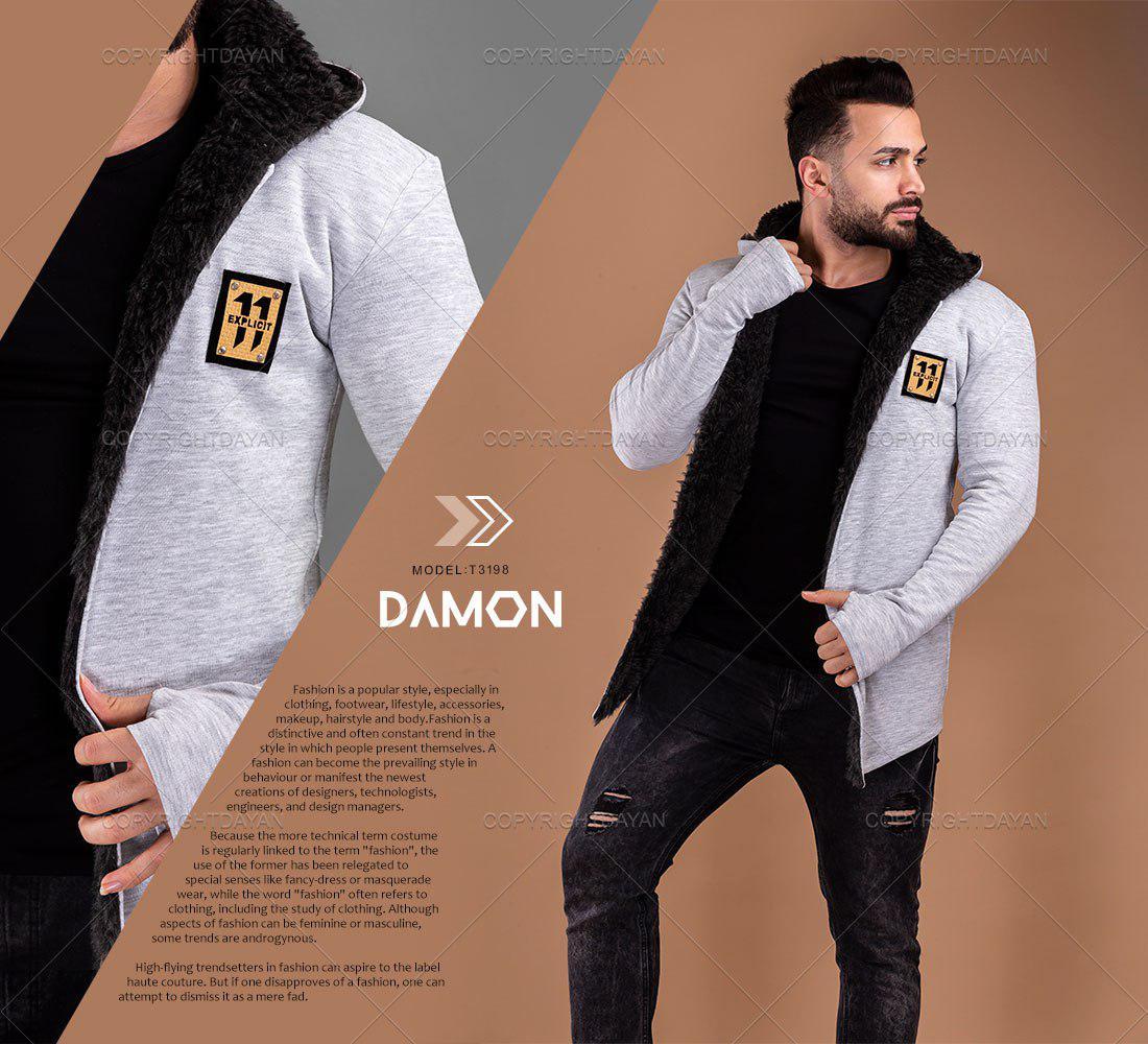 شنل خزدار مردانه Damon مدل T3198 آستین بلند انگشتی 2019