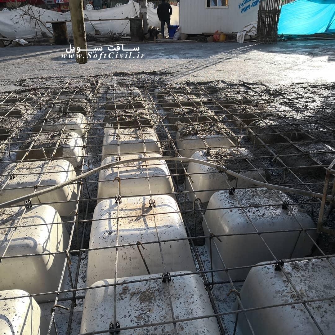 تصاویری از بتن ریزی سقف وافل با دهانه حداکثر 14 متری