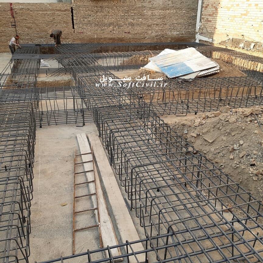 مرحله اجرای آرماتوربندی، قالب بندی و بتن ریزی فونداسیون پروژه تهران