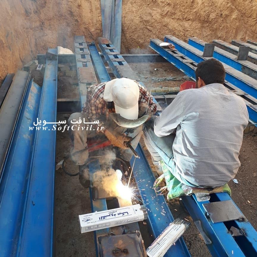 عملیات جوشکاری ستونهای دوبل با بست های موازی