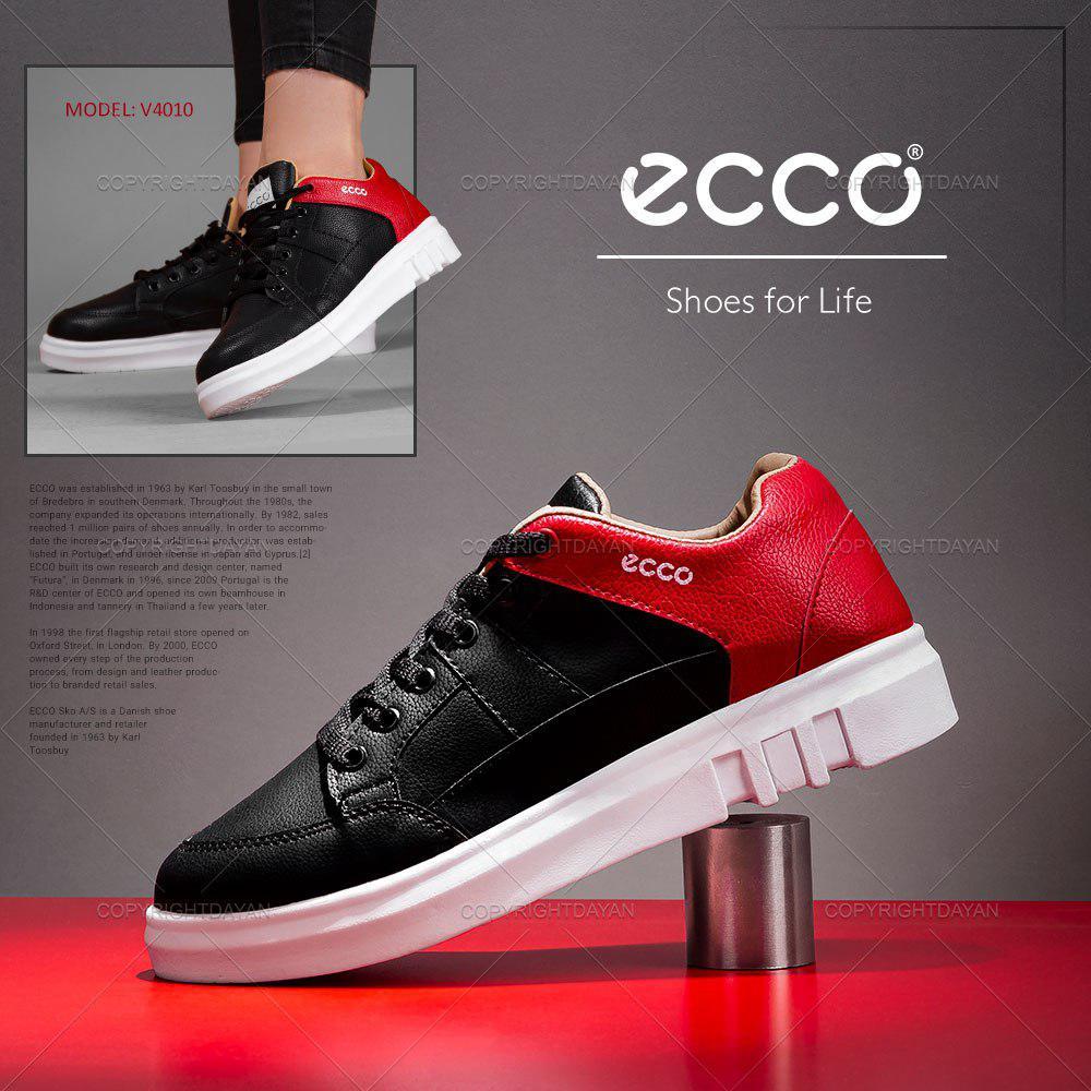 کفش چرمی زنانه مشکی قرمز Ecco مدل V4010 اسپرت 2019