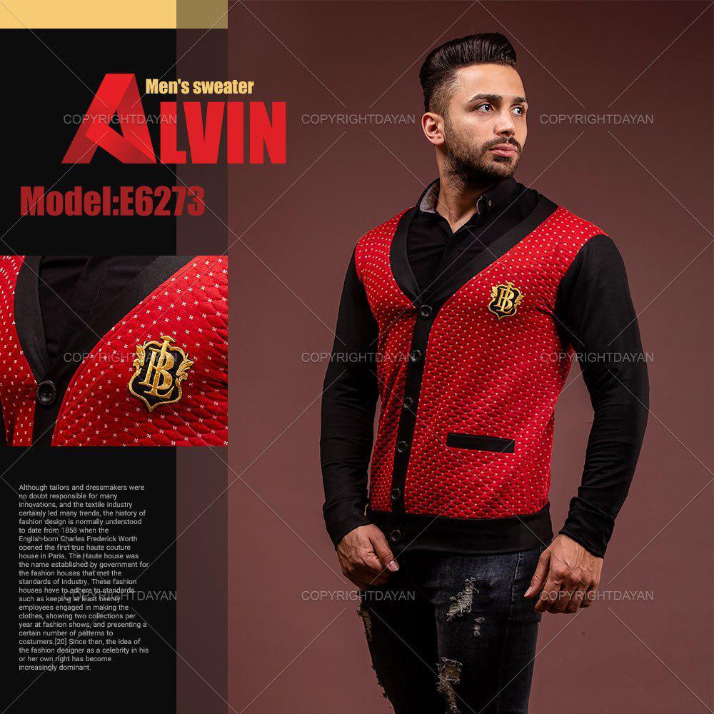ژاکت بافت یقه هفت مردانه Alvin مدل E6273