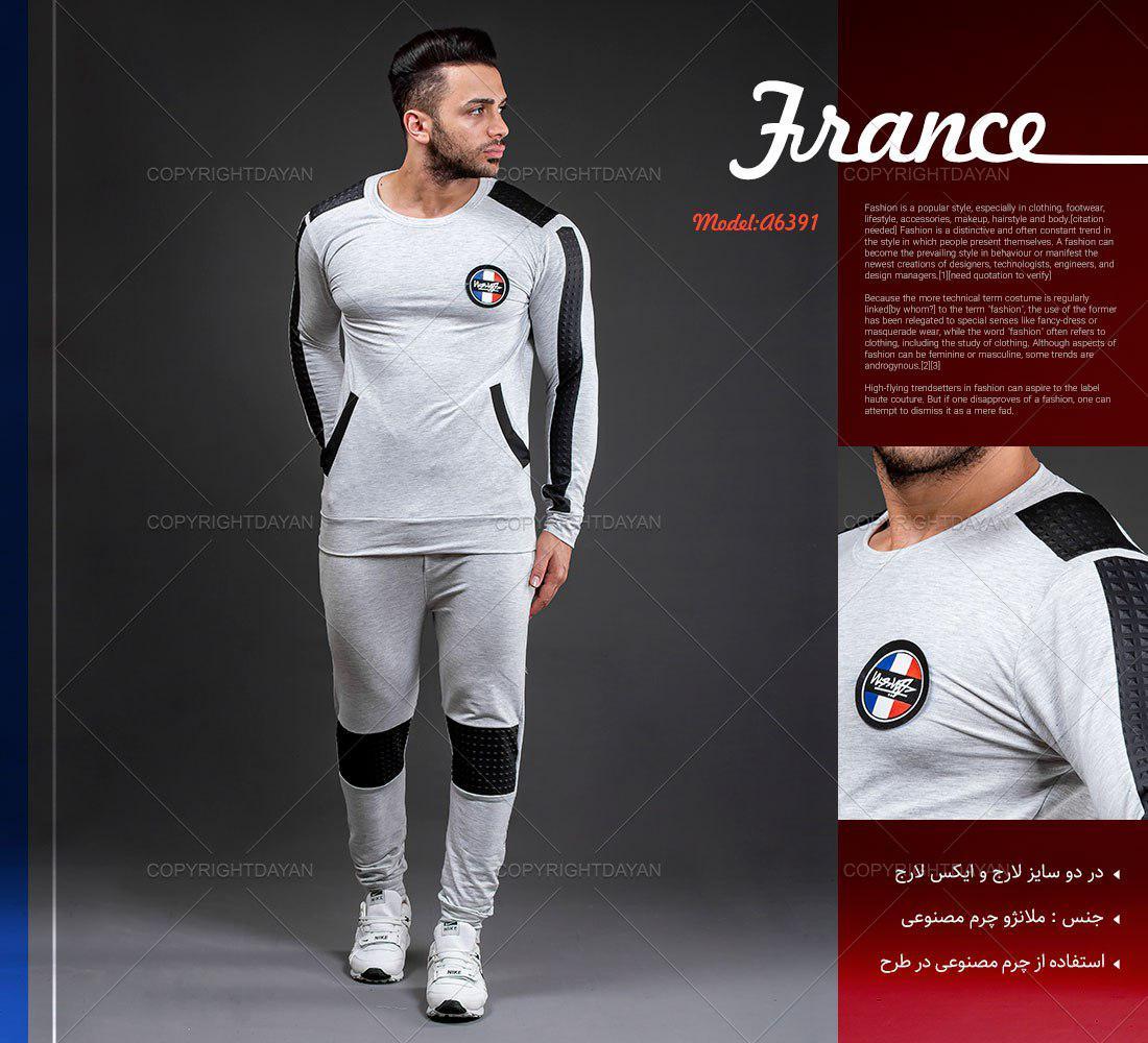 ست تیشرت و شلوار مردانه France مدل A6391