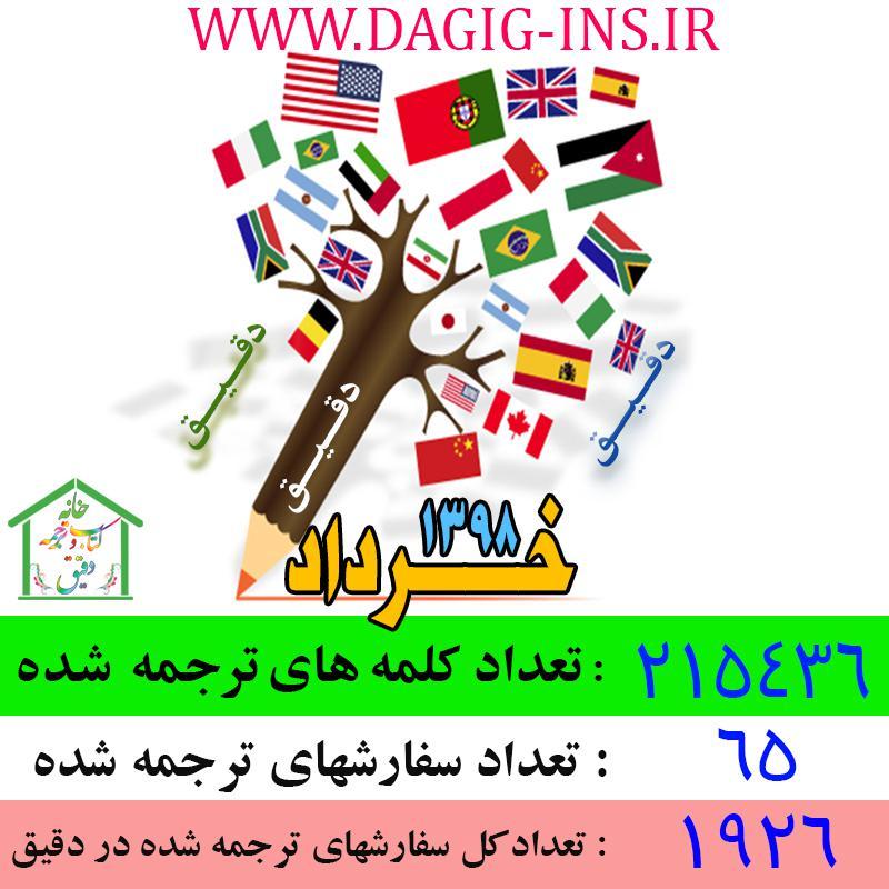 عملکرد خانه ترجمه دقیق در خرداد 1398 - باکیفیتترین مرکز ترجمه در ایران